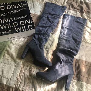 Wild Diva Amaya Dark Gray Thigh High Boots Size 7